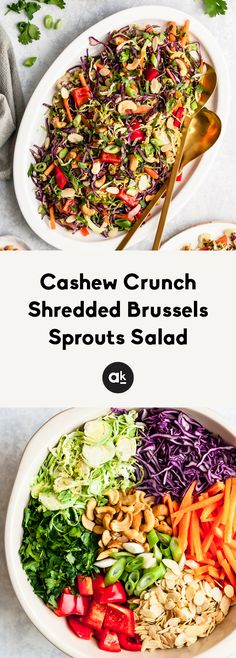 Cashew crunch shredded brussels sprouts salad with a sesame ginger dressing. This easy vegan brussels sprout salad is absolutely delicious! Vegetarian Salad Recipes, Healthy Salads, Healthy Recipes, Vegan Vegetarian, Paleo, Shredded Brussel Sprout Salad, Brussels Sprouts, Sesame Ginger Dressing, Easy Chicken Marinade