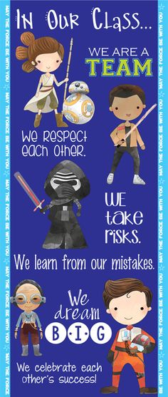 STAR WARS theme - Character Education Classroom Banner / LARGE / In Our School, Leia, Hans, Luke, Rey, Finn, Maz, Poe, Darth Vader, Kylo by ArtrageousFun on Etsy