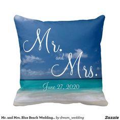 Mr. and Mrs. Blue Beach Wedding Pillows