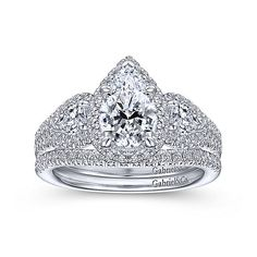 14K White Gold Pear Shape Three Stone Halo Diamond Engagement Ring Engagement Ring Settings Only, Pear Shaped Engagement Rings, Halo Diamond Engagement Ring, Pear Shaped Diamond, White Gold Diamonds, Rose, Pink, Vintage, Stones