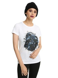 Go to the Dark Side of  Star Wars  in this fitted tee that features a splattered Darth Vader photo fill design on the front. It's the bit of geek chic your wardrobe is looking for.   100% cotton  Wash cold; dry low  Imported  Listed in junior sizes