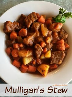 Mulligan's Stew - An Affair from the Heart - Simple ingredients and easy to follow recipe for beef stew.