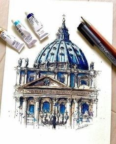 Drawing and Painting St.Peter's Basilica, Vatican City. Travelling, Drawing and Painting. By Akihito Horigome.Peter's Basilica, Vatican City. Travelling, Drawing and Painting. By Akihito Horigome. Sketchbook Architecture, Art Et Architecture, Watercolor Architecture, Art Sketchbook, Architecture Concept Drawings, Travel Sketchbook, Inspiration Art, Art Inspo, Watercolor Sketch