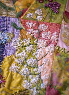 "The work of Allison Aller; her award-winning quilt ""Crazy for Flowers"""