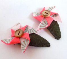Pinwheels! Vintage-inspired fabric meet bold and vibrant wool felt. Magic.