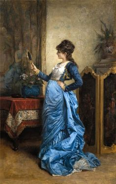 Painting by Auguste Toulmouche (1829-1910). amazing blue gown