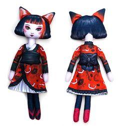Printed Fabric Doll Pattern Kitsune Japanese Fox by selinafenech