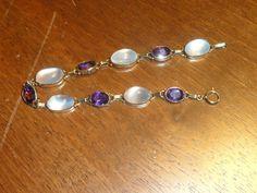 Important Retro Fine Moonstones Amethysts 14k Gold Bracelet Estate WOW | eBay