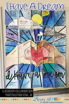 Martin Luther King Jr, I Have a Dream Collaborative Poster, Writing Activity - Study All Knight Total Pages: 34 File Size: 4 MB Middle School Reading, Middle School Art, Art School, School Ideas, High School, Classroom Art Projects, Art Classroom, School Projects, Classroom Ideas