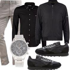Pantalone 5 tasche, camicia nera bottondown e bomber, un outfit casual da portare anche in ufficio. Bomber black e Reebok. Un idea per un orologio? ecco indicata la mia proposta!