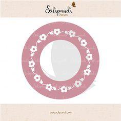 Circle monogram frame  flower wreath  SVG Cut by SolipandiDesigns
