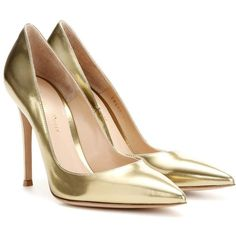 Gianvito Rossi Metallic Leather Pumps (€615) ❤ liked on Polyvore featuring shoes, pumps, heels, gold, gianvito rossi, genuine leather shoes, leather shoes, leather footwear and heel pump