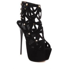 Hollow Out Platform Stiletto Heel Sandals ($34) ❤ liked on Polyvore featuring shoes, sandals, black stiletto shoes, heels stilettos, black shoes, black stiletto sandals and kohl shoes