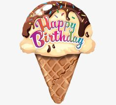 Buy Happy Birthday Ice Cream Supershape Balloon from Tiger Feet Party. Make their day with this fun birthday balloon. The balloon is designed in the Free Happy Birthday Cards, Happy Birthday Pictures, Happy Birthday Messages, Happy Birthday Greetings, Happy Birthdays, Birthday Clips, Birthday Posts, Birthday Fun, Birthday Quotes