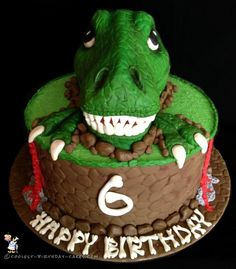 Awesome T-Rex Dinosaur Birthday Cake... Coolest Birthday Cake Ideas