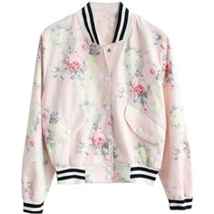 Pink Floral Long Sleeve Bomber Coat Witg Lace Detail ❤ liked on Polyvore featuring outerwear, coats, pink coat, floral coat, floral print coat, long sleeve coat and bomber coats