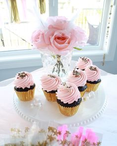 Pink cupcakes with g