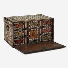 Indo-Portuguese teak and bone inlaid table cabinet - by Freeman's