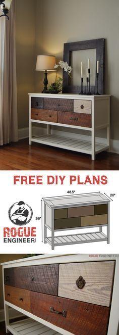 Free Console Table Plans | Rogue Engineer | rogueengineer.com #DIYconsoletables #livingroomDIYplans