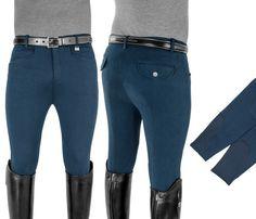 Pantaloni uomo modello ZEFIRO per equitazione, per monta inglese, aderenti e dal taglio anatomico con due tasche e con inserti in lycra sulle caviglie. Taglio slim fit, tessuto d-stretch ad asciugatura rapida, traspirante e anti-UV.