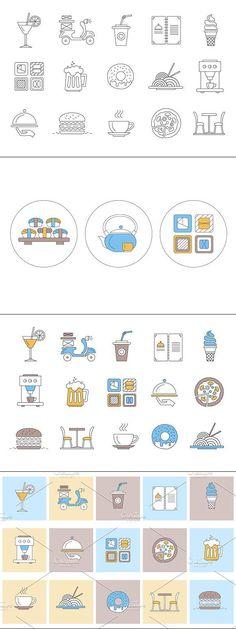 Restorant and japanese food Icon Design, Web Design, Graphic Design, Icon Collection, Business Icon, Vector Format, Premium Wordpress Themes, Icon Pack, Line Icon