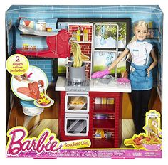 With the Barbie Spaghetti Chef play set, you can cook up a pasta feast! Young chefs can explore restaurant ownership and culinary careers with Barbie doll while cooking up a spaghetti and meatball din Mattel Barbie, Barbie Sets, Barbie And Ken, Cooking Toys, Girl Cooking, Barbie Super Princesa, Barbie Kitchen, Barbie Doll Accessories, Barbie Doll House