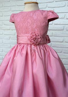 Vestido Infantil Festa Rosa Luxo                                                                                                                                                     Mais