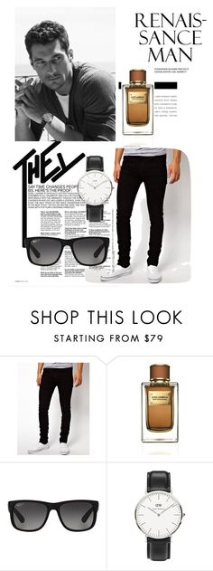 """Hey you!"" by a-camdzic ❤ liked on Polyvore featuring Dr. Denim, Dolce&Gabbana, Ray-Ban, Daniel Wellington, men's fashion and menswear"