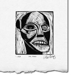 Mr. Moto ~ Linocut Print ~ John Steins