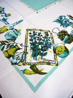 Herbs vintage tablecloth  turquoise  1960s or by CinnamonGirlStuff