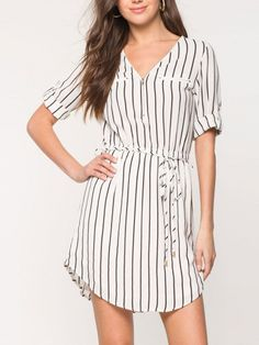 White Stripe Zipped V Neck Tie Waist Roll Sleeve Dress