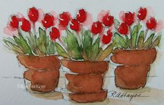 Watercolor Paintings by RoseAnn Hayes: Original Watercolor Painting of Tulips