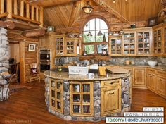 Simple Effective Kitchen Organization Ideas and Home Staging Tips - Build a Log Home and Make a Dream Kitchen - Log Cabin Kitchens, Log Cabin Homes, Log Cabins, Dream Kitchens, Log Cabin Plans, Rustic Kitchens, Open Kitchens, Home Staging Tips, Kitchen Storage Solutions