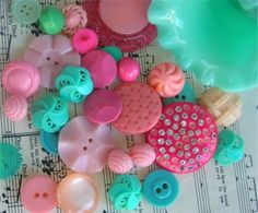 pink and aqua button love