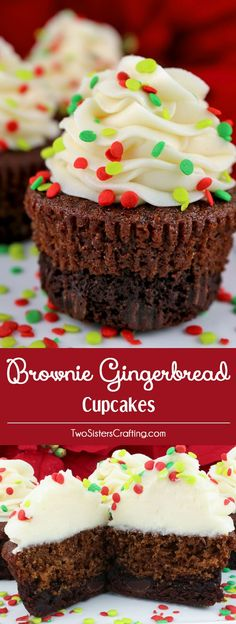 Brownie Gingerbread Cupcakes are a unique twist on a classic - brownies plus homemade gingerbread plus buttercream frosting in one unique and delicious Christmas Cupcake. So easy to make and they taste as amazing as they look! Your family, friends and Holiday party guests will be impressed when you serve this super yummy two-in-one dessert. What a fun and delicious Christmas Treat. Pin this easy Christmas Dessert for later and follow us for more great Christmas Food ideas. #ChristmasCupcakes…