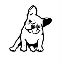 The major breeds of bulldogs are English bulldog, American bulldog, and French bulldog. The bulldog has a broad shoulder which matches with the head. French Bulldog Tattoo, French Bulldog Art, Bulldogge Tattoo, Dog Outline, Black French Bulldogs, Dog Silhouette, Dog Tattoos, Bulldog Puppies, Vinyl Decals