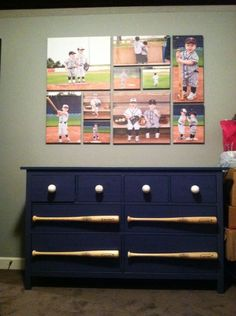 IKEA Dresser With Real Practice Baseballs As Knobs And Wooden Bats Super Cute Baseball Picture Collage