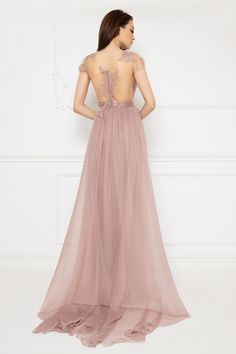 Cristallini - Embroidered Deep V-Neck Pleated A-Line Dress Light Pink Color, Pleated Bodice, Pageant Dresses, Stunning Dresses, Silk Chiffon, Looking For Women, A Line Skirts, Mother Of The Bride, Evening Dresses