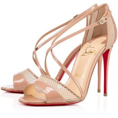 Christian Louboutin Slikova ($895) ❤ liked on Polyvore featuring shoes, sandals, nude, summer shoes, cross strap sandals, dorsay sandal, christian louboutin sandals and narrow shoes