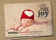 Birth Announcement Template 2 Pack Pure Joy birth by CardsEtcetera