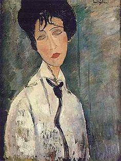 Amedeo Clemente Modigliani Portrait of a Woman in a Black Tie, 1917 Amedeo Modigliani, Modigliani Paintings, Oil Paintings, Modern Paintings, Colorful Paintings, Painting Art, Italian Painters, Italian Artist, Kandinsky