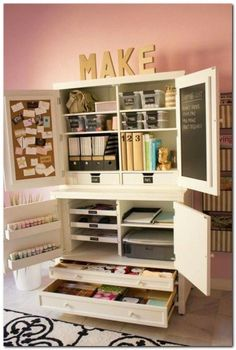 8 DIY Projects For Making A Crafting Armoire Organizing Craft craft table armoire diy - Diy Craft Table Craft Armoire, Craft Cupboard, Craft Cabinet, Cupboard Storage, Kitchen Storage, Craft Storage Cabinets, Craft Room Storage, Craft Organization, Paper Storage