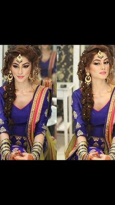 # indian Hairstyles for suits Mehndi Hairstyles, Indian Wedding Hairstyles, Indian Hairstyles For Saree, Look Fashion, Indian Fashion, Bollywood, Mehndi Dress, Mehendi, Look Short