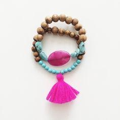 Set of 2 bracelets - Pink/purple Tassel bracelet - agate bracelet