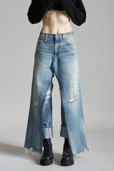 High Rise Double Denim Straight Leg Cropped Cuffed Straight Leg underneath a Full Length Open Inseam Jean Heavily Distressed Mid Blue Wash Holes and Abrasion Throughout 100% Cotton Machine Wash Made in Italy R13W0196-200