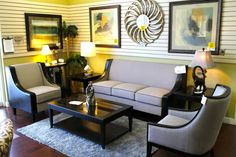 Chair on right Sofa, Couch, Cozy Living Rooms, Las Vegas, Accent Chairs, Classic, Furniture, Home Decor, Homemade Home Decor