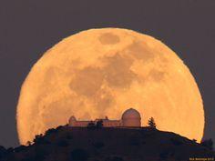 Full Moon over Mount Hamilton & Lick Observatory in San Jose, CA, 3/2012