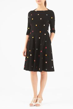 , black dresses, boat neck dresses, cotton/spandex Dresses, embellished dresses, jersey knit dresses, knee length dresses, Knit Dresses, machine wash dresses, midweight dresses, polka dot dresses, Three-quarter length sleeve dresses