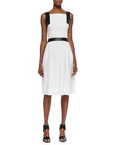 T7X2Q Carmen Marc Valvo Sleeveless Leather-Trim Dress, Ivory, Black