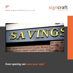 Even spacing can save your sign NEVER have uneven spacing!! Signs look unprofessional and clumsy when uneven spacing is used Contact Signcraft Africa, at info@signcraftafrica.co.za #CEOCircle #signagedesign #signcraftafrica #indoorsignage #outdoorsignage Outdoor Signage, Signage Design, Save Yourself, Africa, Company Logo, Canning, Signs, Crafts, Exterior Signage
